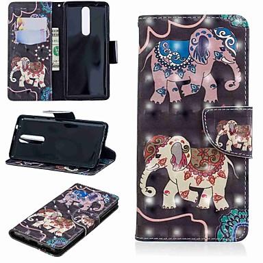 Etui Käyttötarkoitus Nokia Nokia 5.1 / Nokia 3.1 Lomapkko / Korttikotelo / Tuella Suojakuori Elefantti Kova PU-nahka varten Nokia 5.1 / Nokia 3.1 / Nokia 2.1