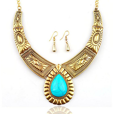 09c4fe62f2 cheap Jewelry Sets-Women's Turquoise Drop Earrings Statement Necklace  Vintage Style