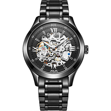 79247f948 Angela Bos Men's Skeleton Watch Mechanical Watch Automatic self-winding  Stainless Steel Black / Gold