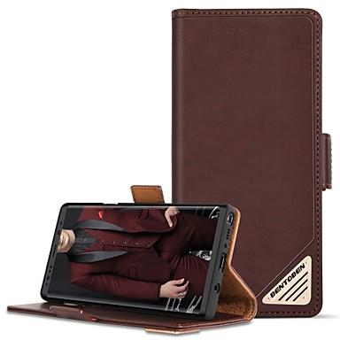Недорогие Чехлы и кейсы для Galaxy Note-Кейс для Назначение SSamsung Galaxy Note 9 Защита от удара / со стендом / Флип Чехол Однотонный Твердый Настоящая кожа / ПК