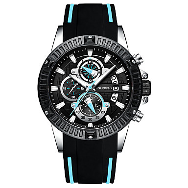 levne Pánské-MINI FOCUS Pánské Sportovní hodinky Letecké hodinky Křemenný Silikon Černá 30 m Stopky Hodinky na běžné nošení Cool Analogové Na běžné nošení Módní - modrá / černá Červená Modrá Jeden rok Životnost