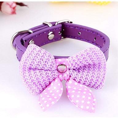 b7eeda1c833b Dogs Cats Collar Ornaments Tie / Bow Tie Bow Tie With Bell For Dog / Cat  Polka Dot Flower / Floral Bowknot PU Leather Fuchsia Red Blue #06959297