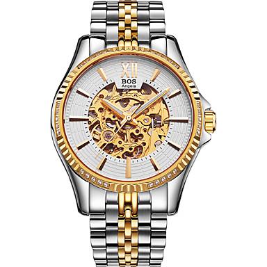זול שעוני גברים-Angela Bos בגדי ריקוד גברים שעוני שלד שעון יד אוטומטי נמתח לבד מתכת אל חלד כסף 30 m עמיד במים חריתה חלולה שעונים יום יומיים אנלוגי יום יומי - שחור שחור וזהב זהב / לבן שנה אחת חיי סוללה