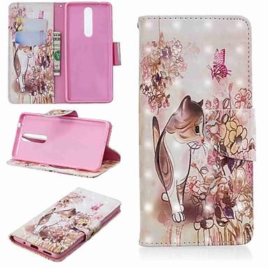 halpa Nokia kotelot / kuoret-Etui Käyttötarkoitus Nokia Nokia 5.1 / Nokia 3.1 Lomapkko / Korttikotelo / Tuella Suojakuori Kissa Kova PU-nahka varten Nokia 5.1 / Nokia 3.1 / Nokia 2.1