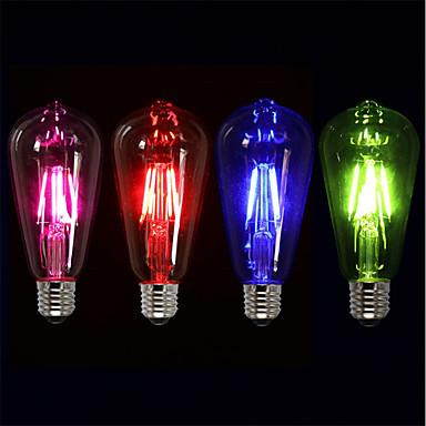 Недорогие Светодиодные электролампы-4шт 4 W LED лампы накаливания 360 lm E26 / E27 ST64 4 Светодиодные бусины COB Для вечеринок Декоративная Праздник Красный Синий Зеленый 220-240 V / RoHs