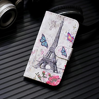 voordelige Galaxy Note-serie hoesjes / covers-hoesje Voor Samsung Galaxy Note 9 / Note 8 Portemonnee / Kaarthouder / met standaard Volledig hoesje Eiffeltoren Hard PU-nahka