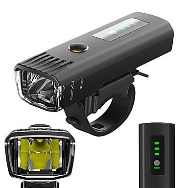 رخيصةأون اضواء الدراجة-LED اضواء الدراجة ضوء الدراجة الأمامي مصابيح الدراجة دراجة جبلية ركوب الدراجة ضد الماء ضد الانعكاس حساس الضوء بطارية ليثيوم قابلة للشحن 650 lm أبيض Camping / Hiking / Caving أخضر / ABS