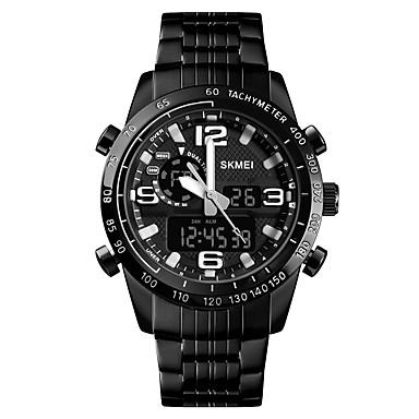 Χαμηλού Κόστους Ανδρικά ρολόγια-SKMEI Ανδρικά Αθλητικό Ρολόι Στρατιωτικό Ρολόι Ψηφιακό ρολόι Ψηφιακό Ανοξείδωτο Ατσάλι Μαύρο 30 m Συναγερμός Ημερολόγιο Χρονογράφος Αναλογικό-Ψηφιακό Πολυτέλεια Μοντέρνα - Μαύρο / Ενας χρόνος