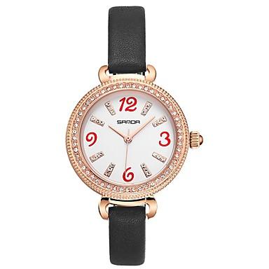 preiswerte Damen Uhren-SANDA Damen Uhr Kleideruhr Armbanduhr Japanisch Japanischer Quartz Leder Schwarz / Rot 30 m Wasserdicht Kreativ Cool Analog damas Modisch Schwarz Rot / Imitation Diamant