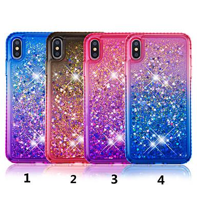 voordelige iPhone 5 hoesjes-hoesje Voor Apple iPhone XS / iPhone XR / iPhone XS Max Strass / Stromende vloeistof / Doorzichtig Achterkant Kleurgradatie Hard TPU