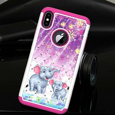 voordelige iPhone 6 Plus hoesjes-hoesje Voor Apple iPhone XS / iPhone XR / iPhone XS Max Strass / Doorzichtig Achterkant dier / Olifant Hard TPU / PC
