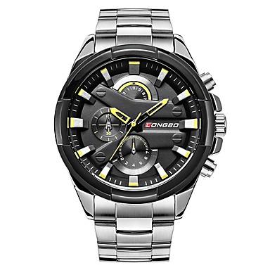 זול שעוני גברים-LONGBO בגדי ריקוד גברים שעוני שמלה שעון יד Japanese קוורץ יפני גדול מתכת אל חלד כסף 30 m עמיד במים מגניב אנלוגי קלסי אופנתי - לבן שחור