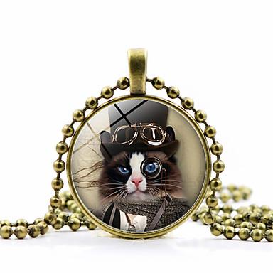 Naisten Perinteinen Riipus-kaulakorut Kissa naiset Muoti söpö tyyli Steampunk Lovely Kulta Musta Hopea 45+5 cm Kaulakorut Korut 1kpl Käyttötarkoitus Pyhäpäivä Työ