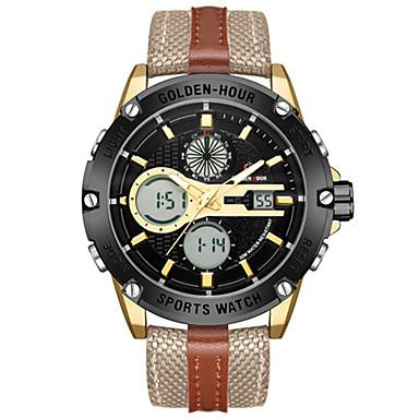 Χαμηλού Κόστους Ανδρικά ρολόγια-Ανδρικά Αθλητικό Ρολόι Στρατιωτικό Ρολόι Ψηφιακό ρολόι Ιαπωνικά Ψηφιακό Δέρμα Καφέ / Πράσινο 30 m Ανθεκτικό στο Νερό Ημερολόγιο Χρονογράφος Αναλογικό-Ψηφιακό Βραχιόλι Μοντέρνα -  / Δύο χρόνια