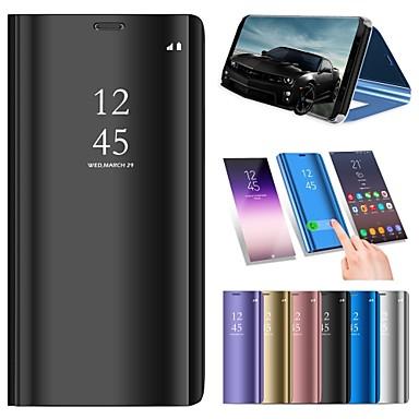 voordelige Galaxy Note 5 Hoesjes / covers-hoesje Voor Samsung Galaxy Note 9 / Note 8 / Note 5 met standaard / Beplating / Spiegel Volledig hoesje Effen Hard PU-nahka