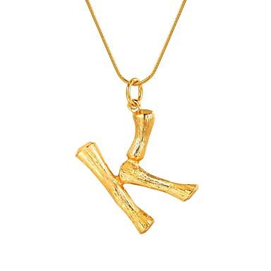 economico Collana-Per donna Collane con ciondolo Nome Lettere dell'alfabeto Di moda Di tendenza Lega Oro Argento 55 cm Collana Gioielli 1pc Per Regalo Quotidiano