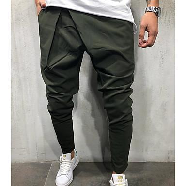 billige Herrers Mode Beklædning-Herre Gade Joggingbukser Bukser - Ensfarvet Navyblå