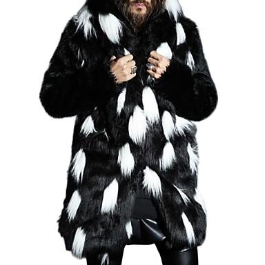 billiga Herr Modekläder-Herr Dagligen Plusstorlekar Normal Fur Coat, Färgblock Huva Långärmad Fuskpäls Vit / Svart XXL / XXXL / 4XL