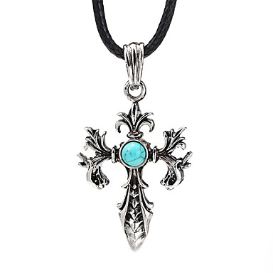 Herr Blå Turkos Retro Hänge Halsband Vintagehalsband Kors Vintage Häftig  Svart 99 cm Halsband Smycken 1st d4a84dc21fd85