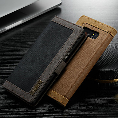voordelige Galaxy Note-serie hoesjes / covers-hoesje Voor Samsung Galaxy Note 9 / Note 8 Portemonnee / Kaarthouder / met standaard Volledig hoesje Effen Hard tekstiili