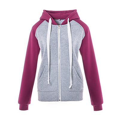 billige Hættetrøjer og sweatshirts til damer-Dame I-byen-tøj Hattetrøje - Farveblok / Efterår