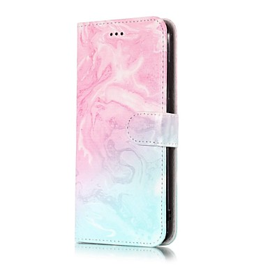 ieftine Carcase / Huse de LG-Maska Pentru LG LG V30 / LG Stylo 4 / LG K10 2018 Portofel / Titluar Card / Cu Stand Carcasă Telefon Marmură Greu PU piele