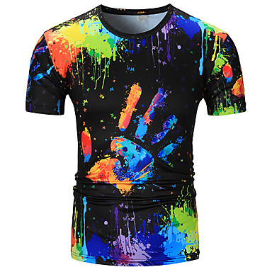저렴한 남자 상의-남성용 3D / 무지개 라운드 넥 티셔츠, 베이직 면 레인보우 XL / 짧은 소매