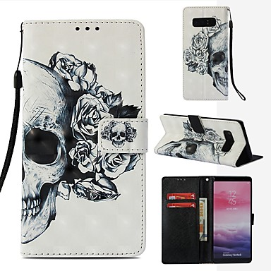 voordelige Galaxy Note-serie hoesjes / covers-hoesje Voor Samsung Galaxy Note 8 Portemonnee / Kaarthouder / Flip Volledig hoesje Doodskoppen Hard PU-nahka