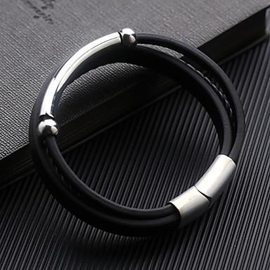 Men's Geometrical Wrap Bracelet - Leather Bracelet Jewelry Black For Daily Formal