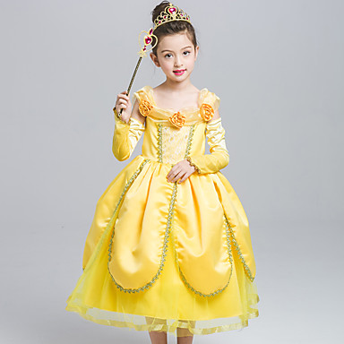 Belle Cosplay Costume Girls Kid S Dresses Mesh Christmas Halloween