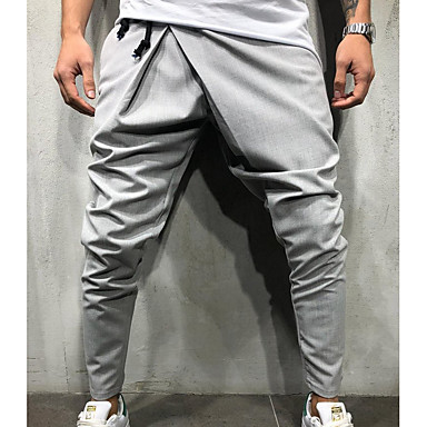 cheap Men's Pants-Men's Exaggerated Daily Sweatpants Pants - Solid Colored Navy Blue Army Green Light gray L XL XXL