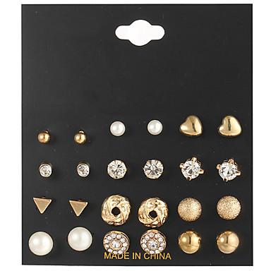 Pentru femei Transparent Cristal Cercei Set Retro Inimă Minge femei Boem Modă Elegant Ștras cercei Bijuterii Auriu / Argintiu Pentru Zilnic Dată 12 perechi