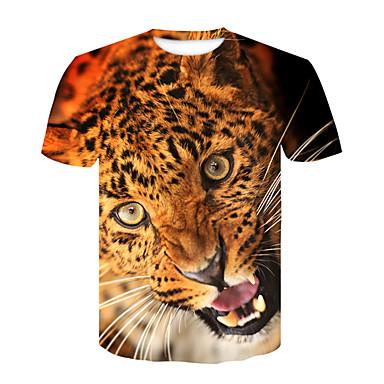 economico Abbigliamento uomo-T-shirt Per uomo Serata Moda città / Punk & Gotico Con stampe, Leopardata / Monocolore / Animali Rotonda Arancione XXL / Manica corta