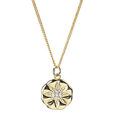Dame Halskædevedhæng Mønt Yndig Simple Europæisk S925 Sterling Sølv Guld 44 cm Halskæder Smykker 1pc Til Bryllup Forlovelse