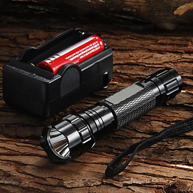 ieftine lanterne-UltraFire Lanterne LED 1200 lm LED LED 1 emițători 5 Mod Zbor Cu Baterie și Încărcător Focalizare Ajustabilă Camping / Cățărare / Speologie Utilizare Zilnică Ciclism Negru / Aliaj de Aluminiu