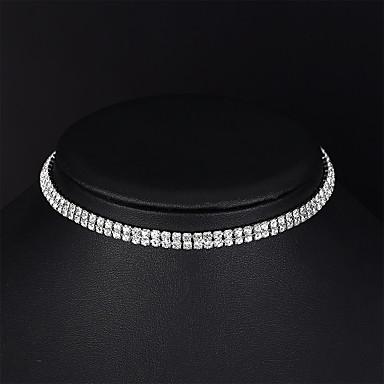 billige Mode Halskæde-Dame Tenniskæde Kort halskæde Simuleret diamant Simple Mode Elegant Sølv 35 cm Halskæder Smykker 1pc Til Bryllup Aftenselskab