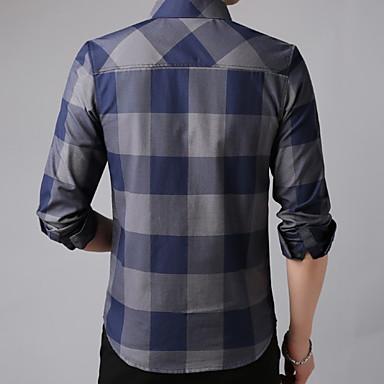 economico Abbigliamento uomo-Camicia Per uomo Ufficio Lavoro Monocolore / A quadri Cotone Blu XL / Manica lunga / Taglia piccola