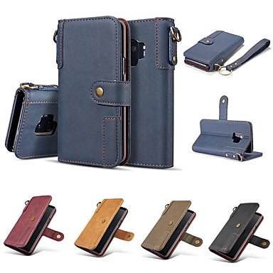 Кейс для Назначение SSamsung Galaxy S9 / S9 Plus / S8 Plus Кошелек / Бумажник для карт / Защита от удара Чехол Однотонный Твердый Настоящая кожа