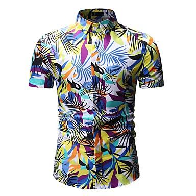 Men's Basic Shirt - Floral / Color Block / Graphic Print