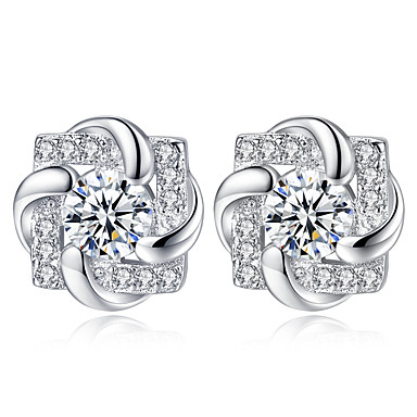 Women's Classic Stud Earrings - Imitation Diamond Flower Simple Trendy Jewelry Silver For Gift Daily 1 Pair