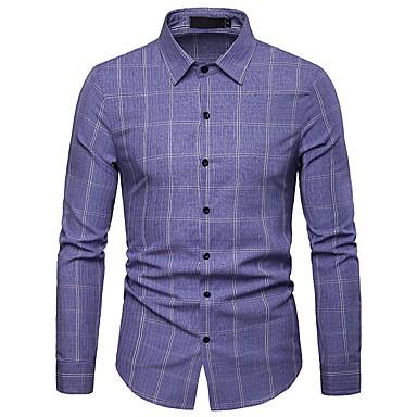 economico Abbigliamento uomo-Camicia Per uomo Ufficio Lavoro / Essenziale A strisce / Monocolore / A quadri Cotone Blu L / Manica lunga