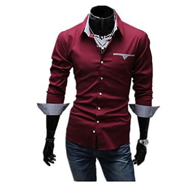 economico Abbigliamento uomo-Camicia Per uomo Essenziale Tinta unita Cotone Bianco XL-US38 / UK38 / EU46 / Manica lunga