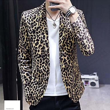 billige Herrers Mode Beklædning-Herre Daglig / Ferie Aktiv Forår & Vinter Normal Blazer, Leopard V-hals Langærmet Polyester Trykt mønster Hvid / Gul XL / XXL / XXXL
