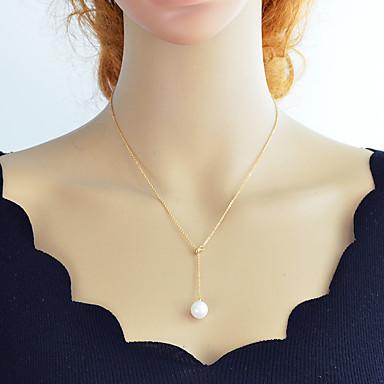 olcso Divat nyaklánc-Női Y nyaklánc Kötőfék Olcsó Egyszerű Divat Gyöngy Króm Arany Ezüst 46 cm Nyakláncok Ékszerek 1db Kompatibilitás Napi