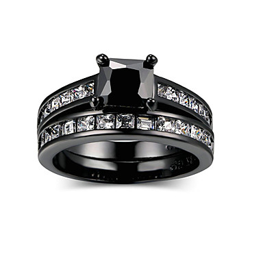 cheap Rings-Women's Black AAA Cubic Zirconia Geometrical Ring Set Alloy