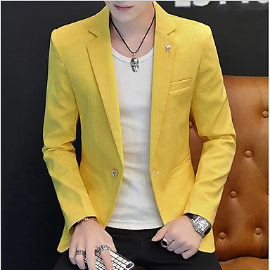 ieftine Îmbrăcăminte la Modă Bărbați-Bărbați Zilnic Toamnă Regular Blazer, Mată Rever Clasic Manșon Lung Bumbac / Poliester Gri / Galben / Kaki