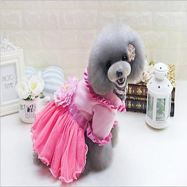 b791aed6edc50 كلاب قطط الفساتين ملابس الكلاب وردة زهري قطن كوستيوم من أجل بكيني الخريف  الشتاء انثى موديل