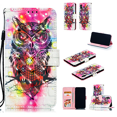 voordelige iPhone 7 hoesjes-hoesje Voor Apple iPhone XS / iPhone XR / iPhone XS Max Kaarthouder / met standaard / Flip Volledig hoesje 3D Cartoon / Uil Hard PU-nahka