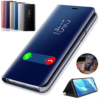 voordelige Galaxy Note-serie hoesjes / covers-hoesje Voor Samsung Galaxy Note 9 / Note 8 / Note 5 met standaard / Beplating / Spiegel Volledig hoesje Effen Hard PU-nahka
