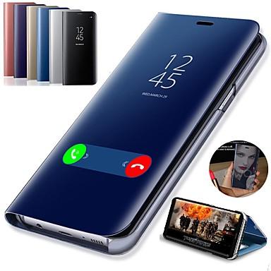 voordelige Galaxy S-serie hoesjes / covers-hoesje Voor Samsung Galaxy S9 / S9 Plus / S8 Plus met standaard / Beplating / Spiegel Volledig hoesje Effen Hard PU-nahka